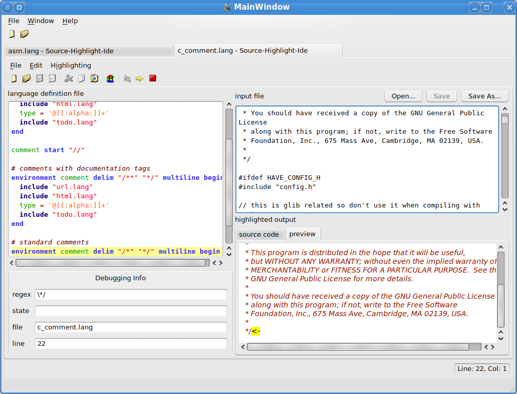 Source-Highlight-Ide debugging