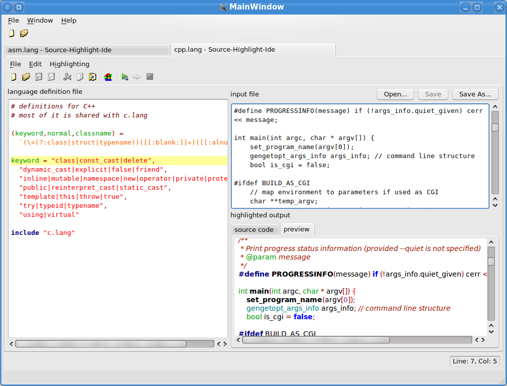 Source-Highlight-Ide - an IDE for GNU Source-Highlight